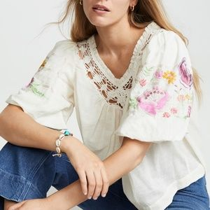 🆕Free People Floral Embroidered Blouse